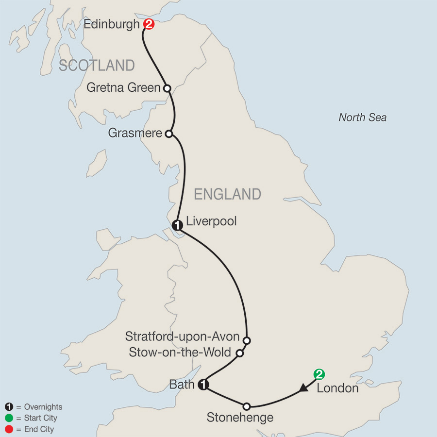 Itinerary map of British Escape 2019 - 7 days from London to Edinburgh