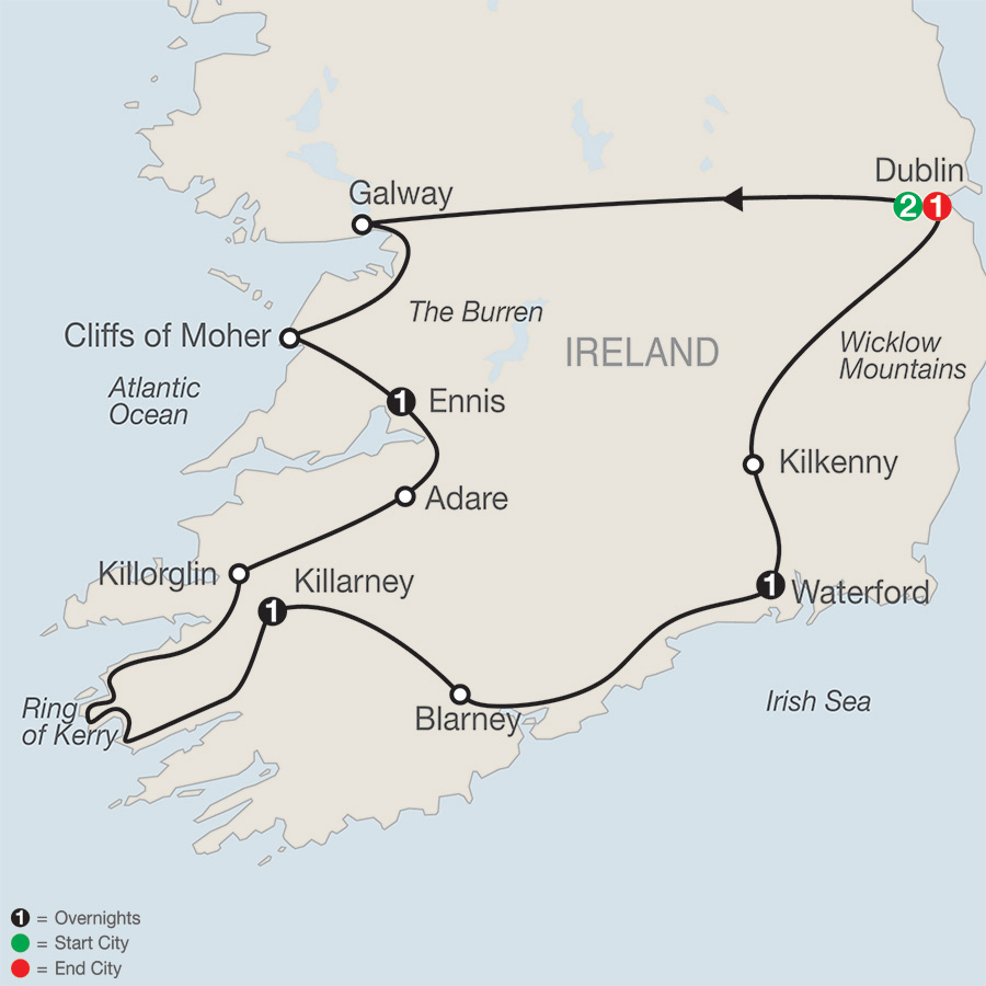 Itinerary map of Irish Escape 2019 - 7 days from Dublin to Dublin