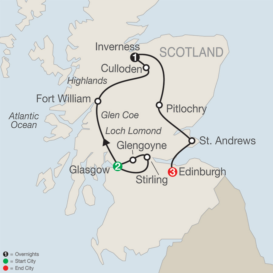 Itinerary map of Scottish Escape 2019 - 7 days from Glasgow to Edinburgh