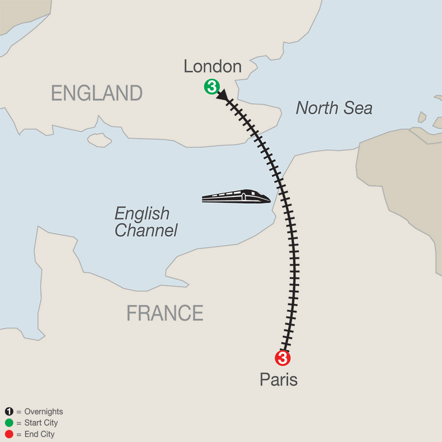 Itinerary map of London & Paris Escape 2019 - 7 days from London to Paris