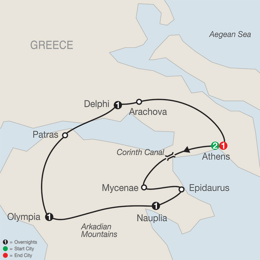 Itinerary map of Greek Escape 2019 - 7 days from Athens to Athens