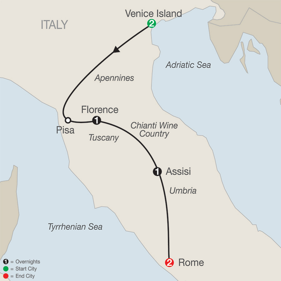 Itinerary map of Bella Italia Escape 2019 - 7 days from Venice to Rome