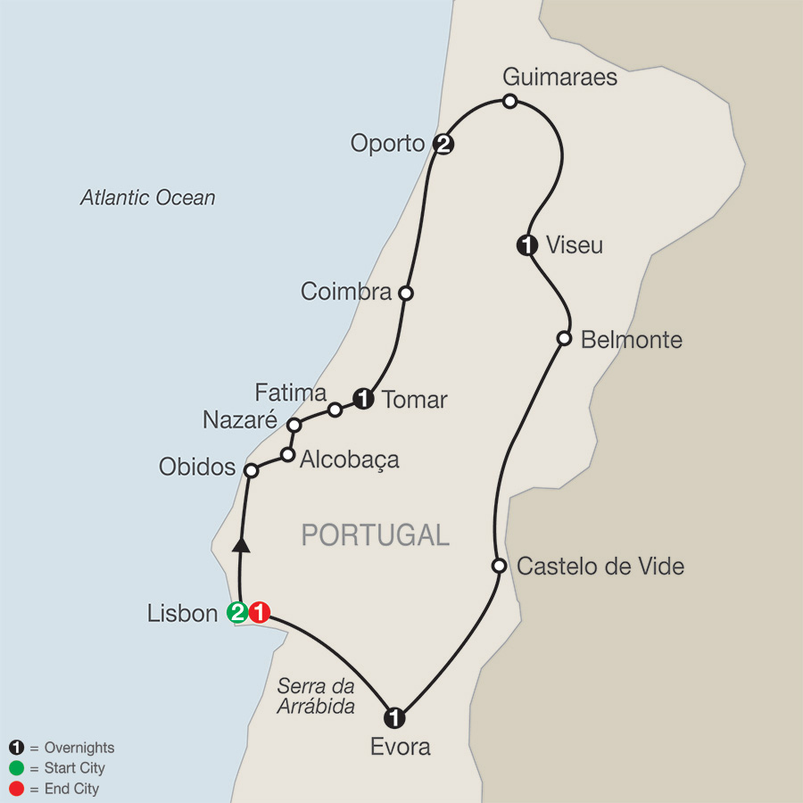 Itinerary map of Portuguese Escape 2019 - 9 days Lisbon to Lisbon