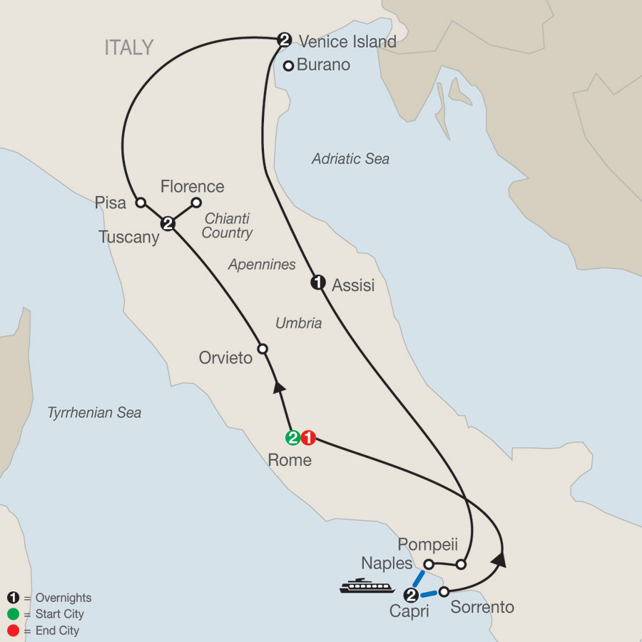 Itinerary map of The Best of Italy 2019 - 11 days from Rome to Rome