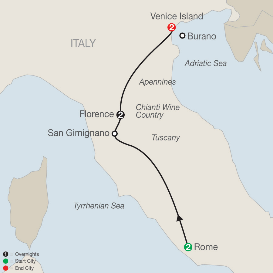 Itinerary map of A Taste of Italy 2019 - 7 days from Rome to Venice
