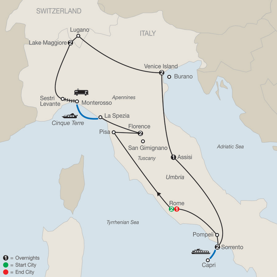 Itinerary map of Italian Mosaic 2019 - 13 days from Rome to Rome