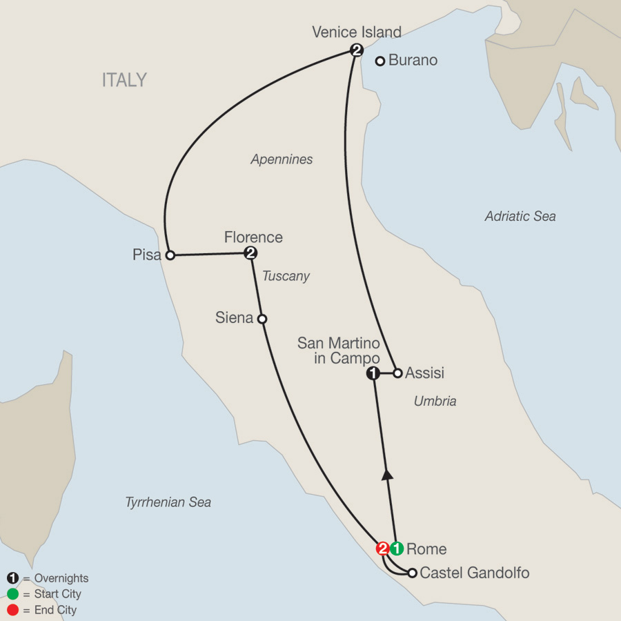 Itinerary map of Italy's Great Cities 2019 - 9 days from Rome to Rome