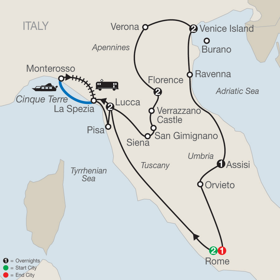 Itinerary map of Italian Treasures 2019 - 11 days from Rome to Rome