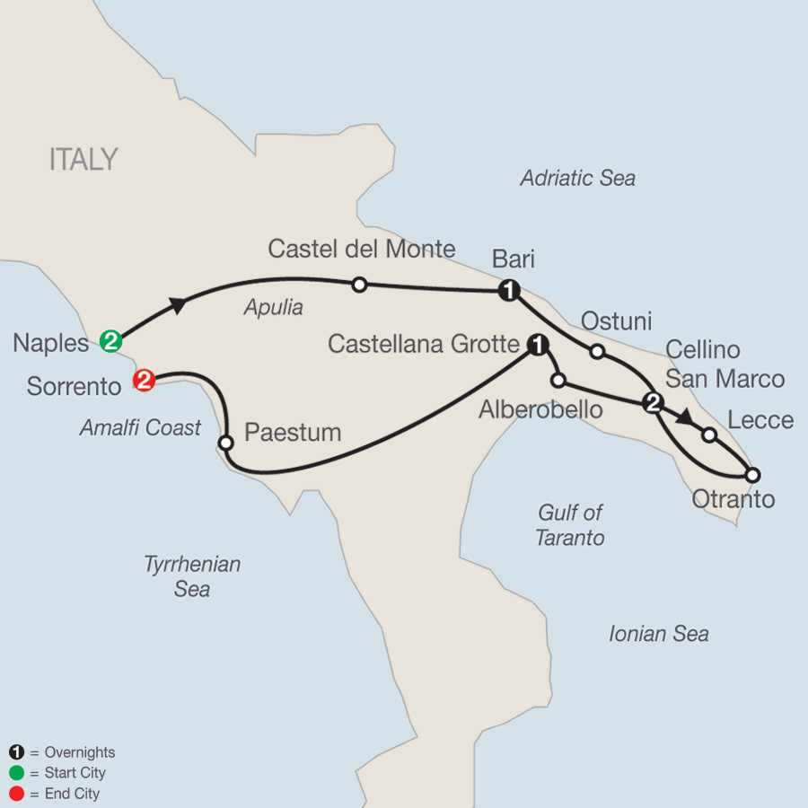Itinerary map of Hidden Treasures of Southern Italy 2019 - 9 days from Naples to Sorrento