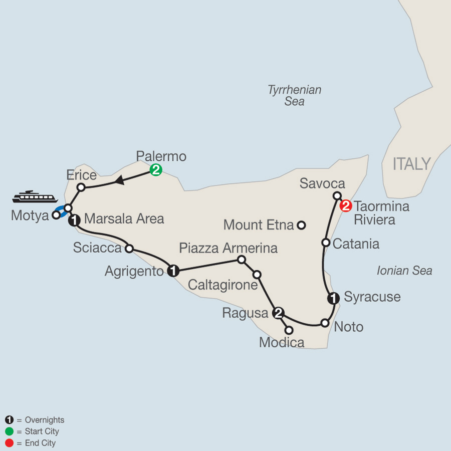 Itinerary map of The Sicilian 2019 - 10 days from Palermo to Taormina Riviera