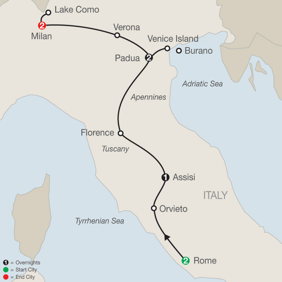 Itinerary map of Italian Vista 2019 - 8 days from Rome to Milan