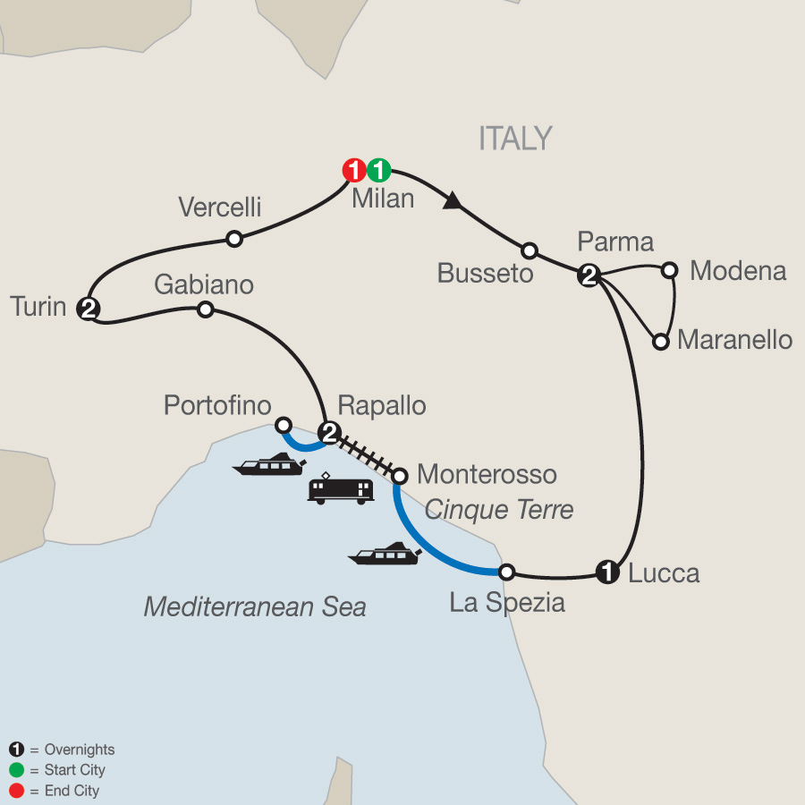 Map for Northern Italy's Highlights & Cinque Terre 2019 - 10 days from Milan to Milan