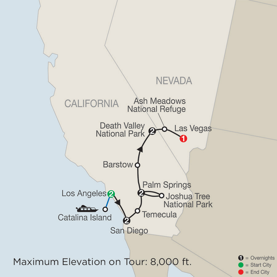 Itinerary map of Southern California with Death Valley & Joshua Tree National Parks 2019 - 10 days from Los Angeles to Las Vegas