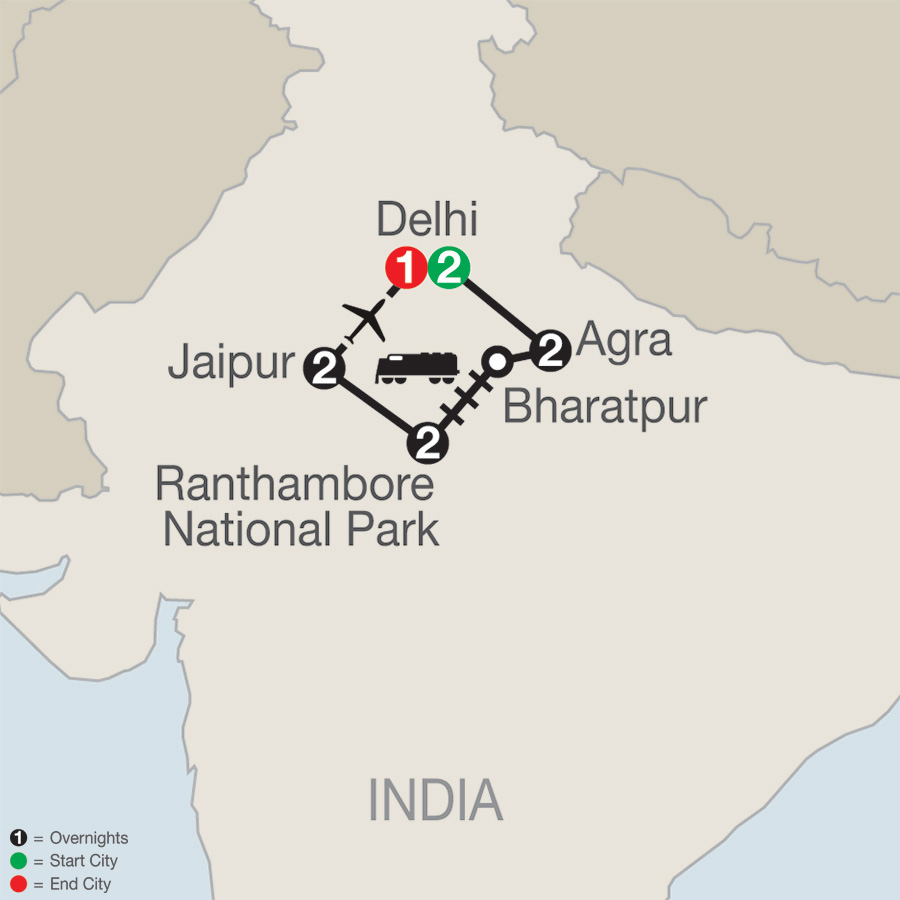 Itinerary map of Icons of India: The Taj, Tigers & Beyond 2019 - 10 days from Delhi to Delhi