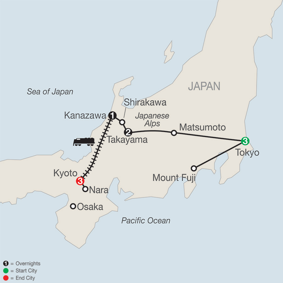 Itinerary map of Discover Japan 2019 - 10 days from Tokyo to Kyoto