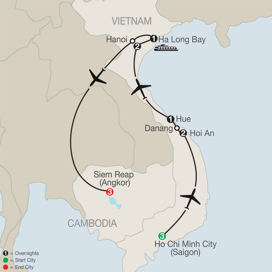 Itinerary map of Vietnam & Cambodia: A Grand Adventure 2019 - 13 days from Ho Chi Minh City to Siem Reap