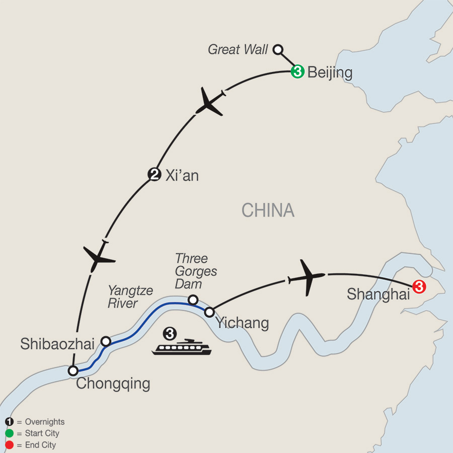 Itinerary map of Classic China & the Yangtze River 2019 - 12 days from Beijing to Shanghai