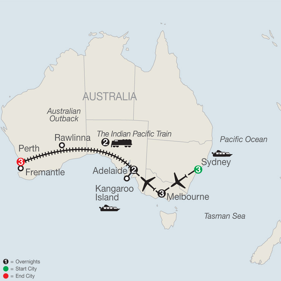 Map for Across Australia by Train 2019 - 14 days from Sydney to Perth