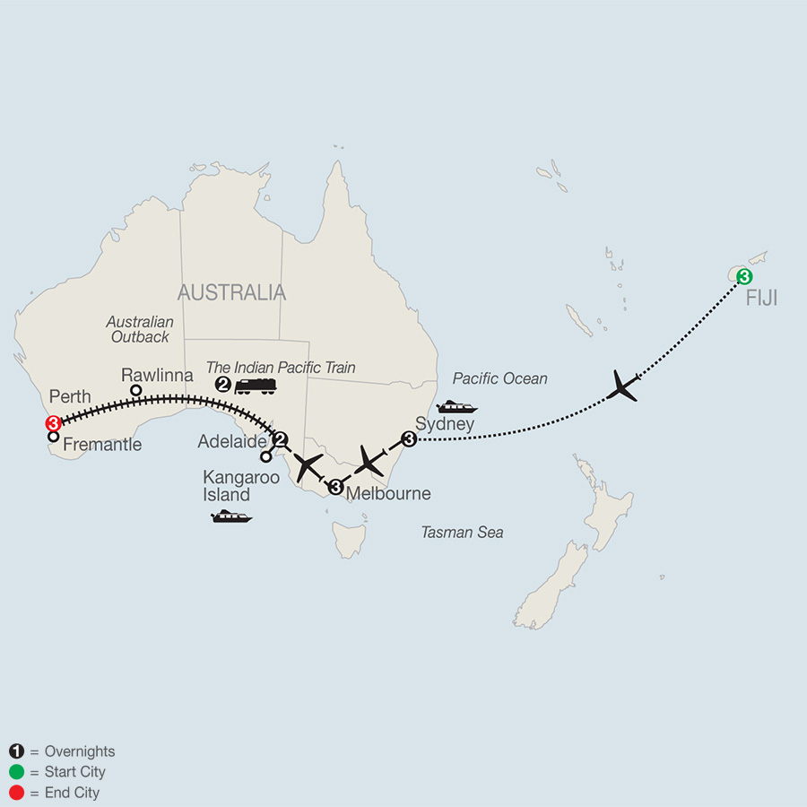 Itinerary map of Across Australia by Train with Fiji 2019 - 17 days from Nadi to Perth
