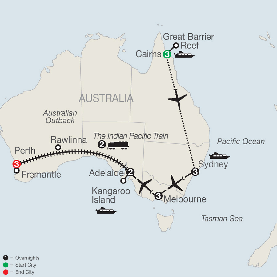 Itinerary map of Across Australia by Train with the Great Barrier Reef 2019 - 17 days from Carins to Perth