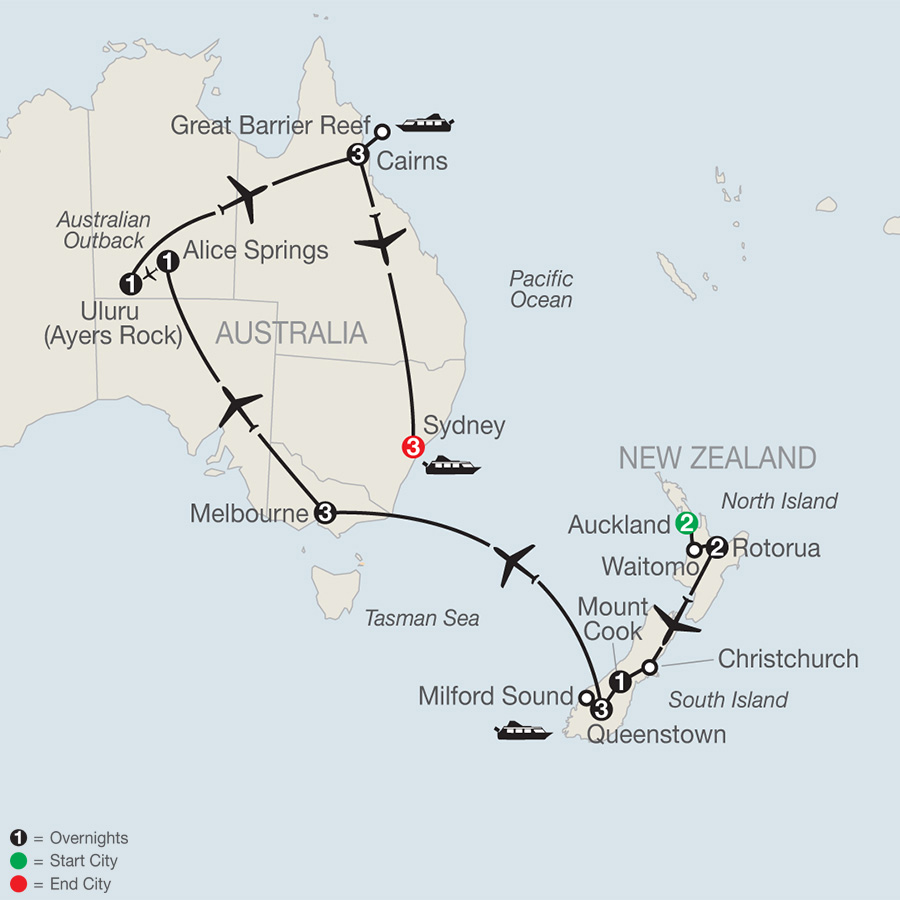 Itinerary map of Down Under Discovery 2019 - 20 days from Auckland to Sydney