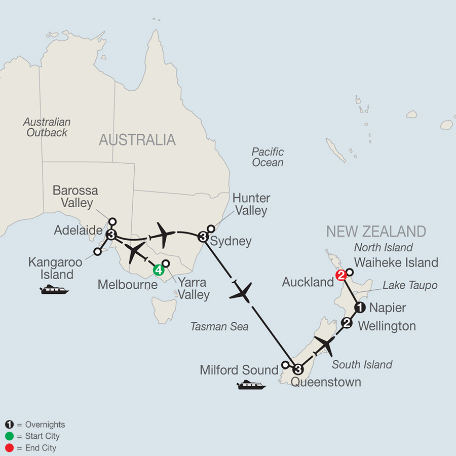 Itinerary map of Wine of Australia & New Zealand 2019 - 19 days from Melbourne to Auckland