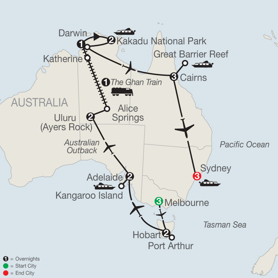 Itinerary map of Exploring Australia 2019 - 20 days from Melbourne to Sydney