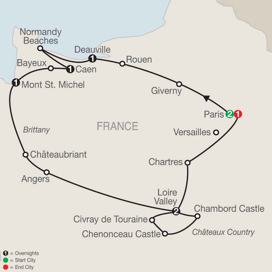 Itinerary map of Normandy, Brittany & Châteaux Country 2019 - 9 days from Paris to Paris