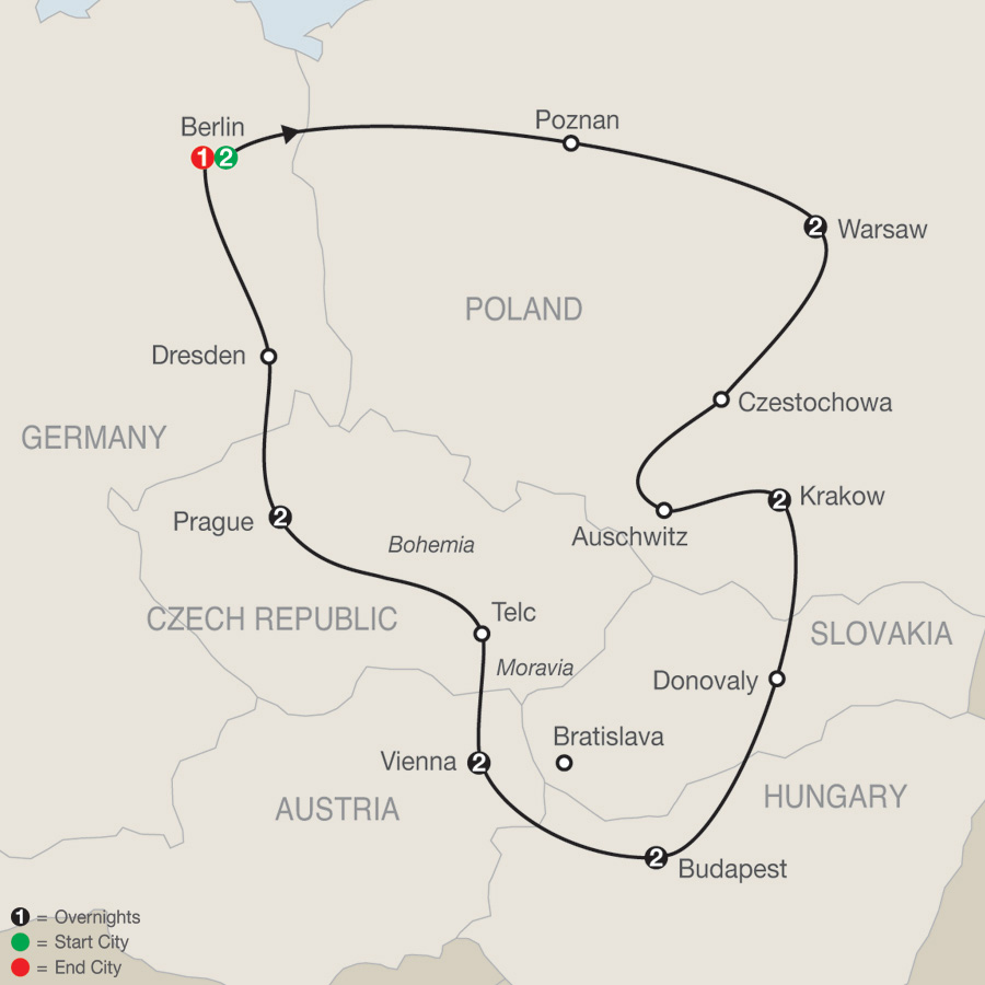 Itinerary map of The Best of Eastern Europe 2019 - 14 days from Berlin to Berlin