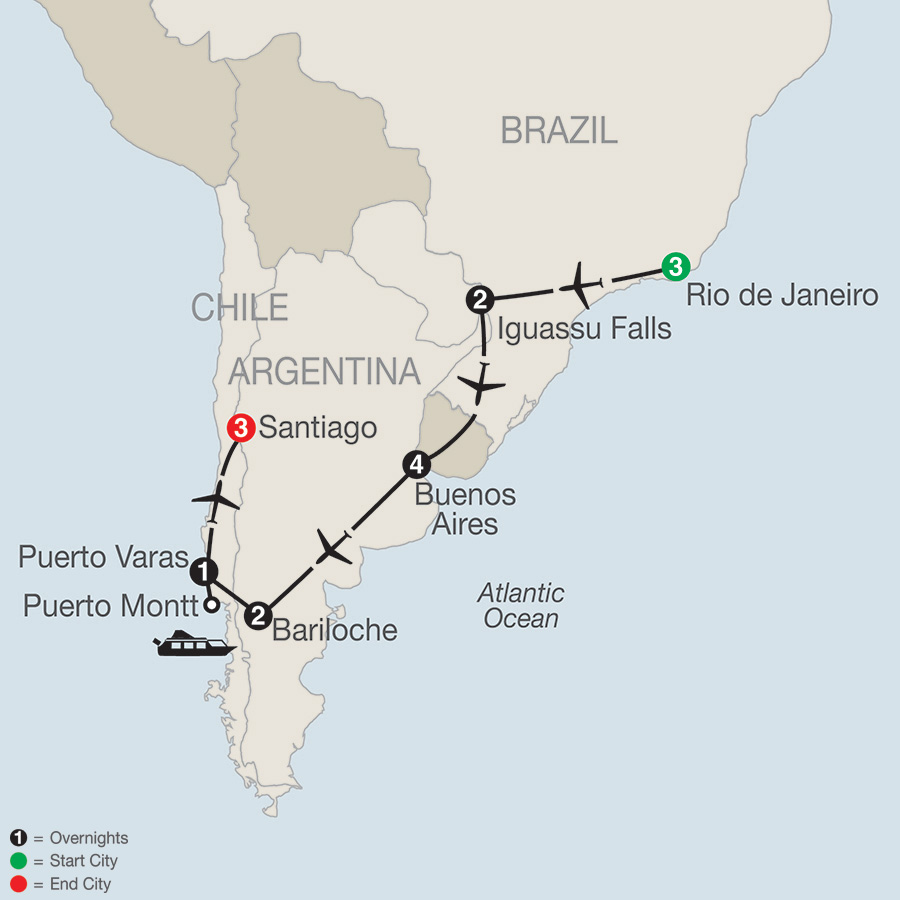 Itinerary map of South American Odyssey 2019 - 16 days from Rio de Janeiro to Santiago