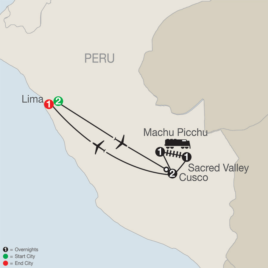 Itinerary map of Peru Splendors 2019 - 8 days from Lima to Lima