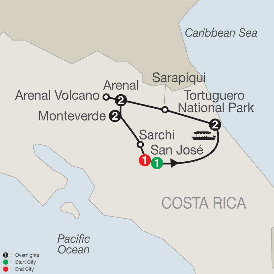 Itinerary map of Natural Wonders of Costa Rica 2019 - 9 days from San José to San José