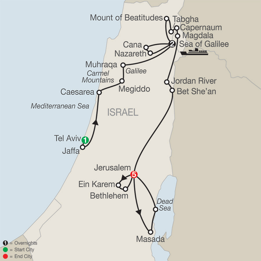 Itinerary map of Journey Through the Holy Land - Faith-Based Travel 2019 - 9 days from Tel Aviv to Jerusalem