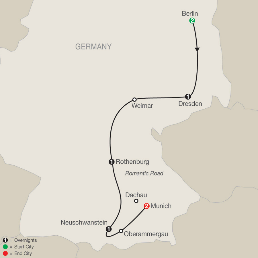 Itinerary map of German Vista 2019 - 8 days from Berlin to Munich