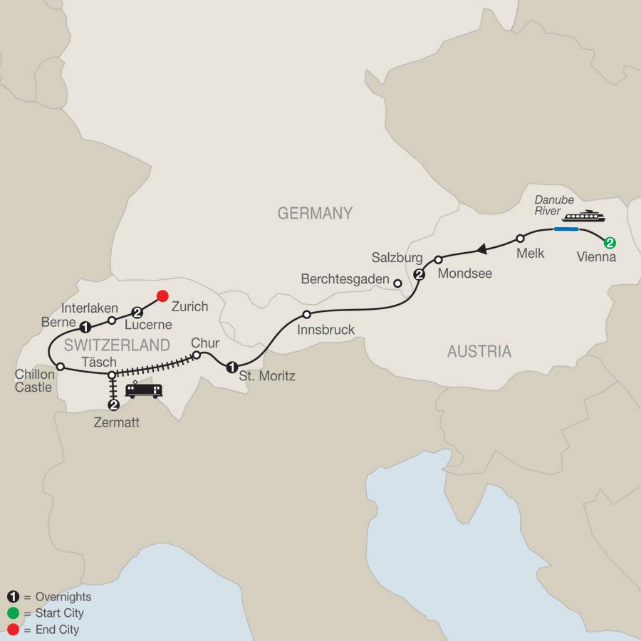 Itinerary map of The Best of Austria & Switzerland 2019 - 11 days from Vienna to Zürich