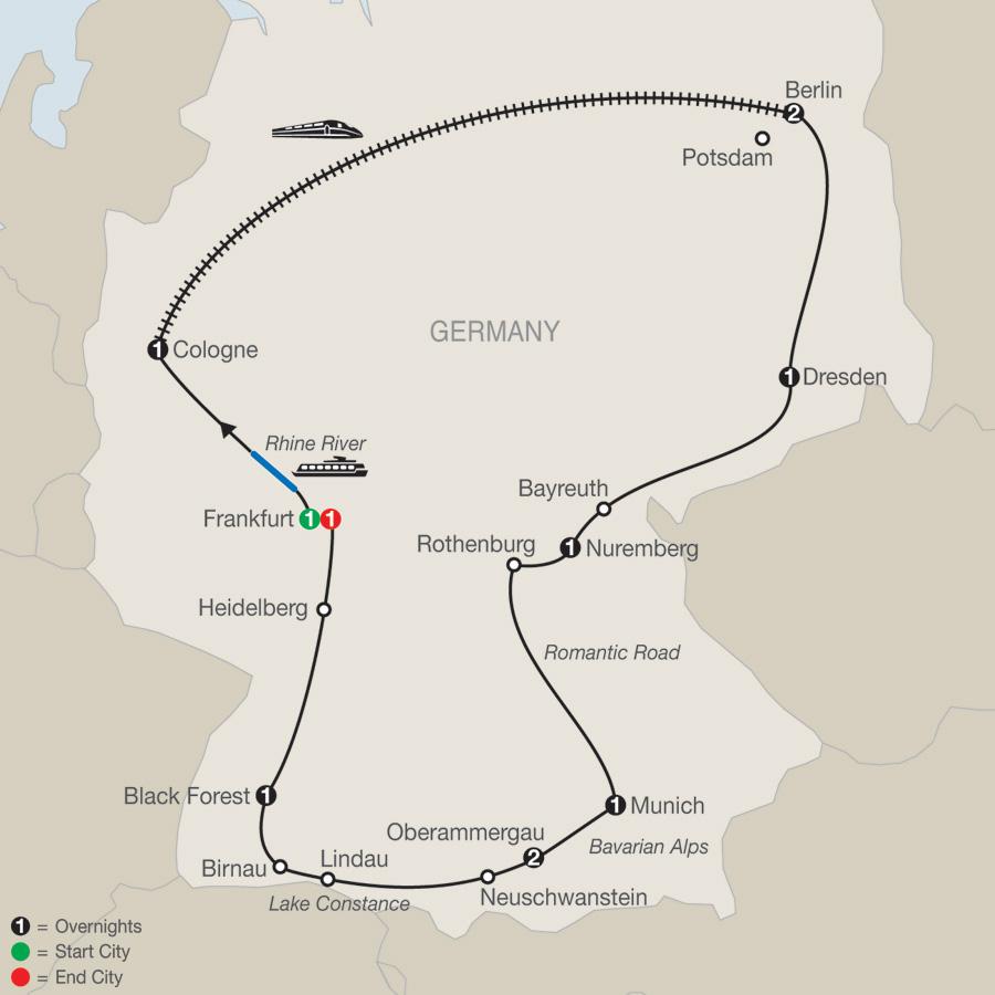 Itinerary map of German Highlights 2019 - 12 days from Frankfurt to Frankfurt