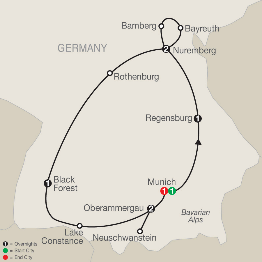 Map for Bavarian Highlights 2019 - 9 days from Munich to Munich