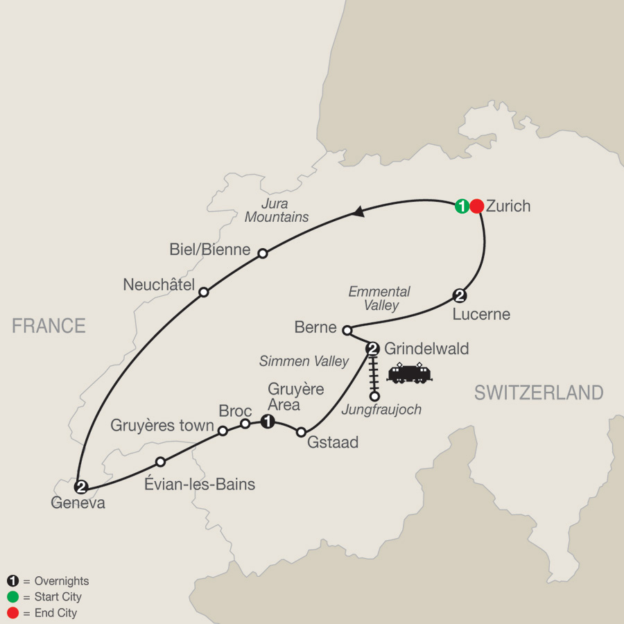 Itinerary map of Spectacular Switzerland 2019 - 9 days from Zurich to Zurich