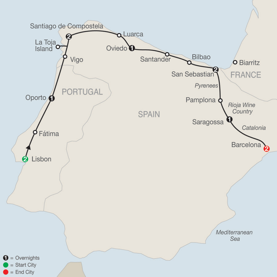 Itinerary map of Lisbon & Northern Spain 2019 - 12 days from Lisbon to Barcelona