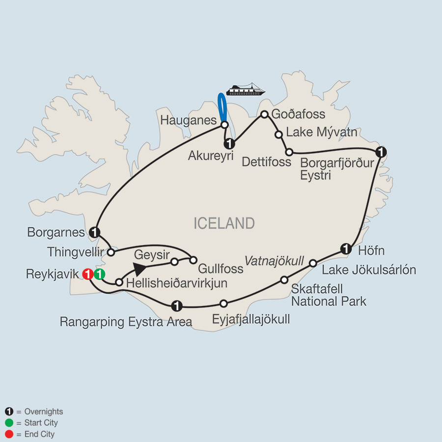 Itinerary map of Iceland Adventure 2019 - 8 days from Reykjavik to Reykjavik