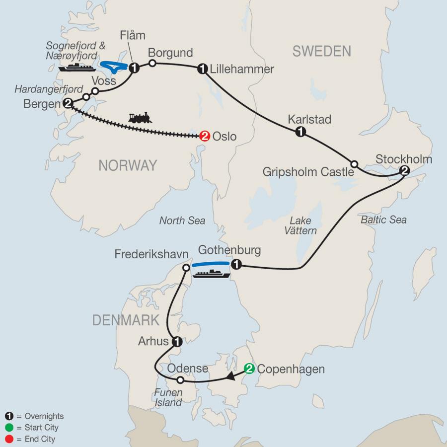 Itinerary map of The Scandinavian 2019 - 14 days from Copenhagen to Oslo