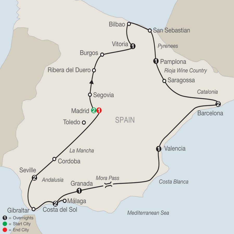 Itinerary map of Spanish Fiesta 2019 - 14 days from Madrid to Madrid