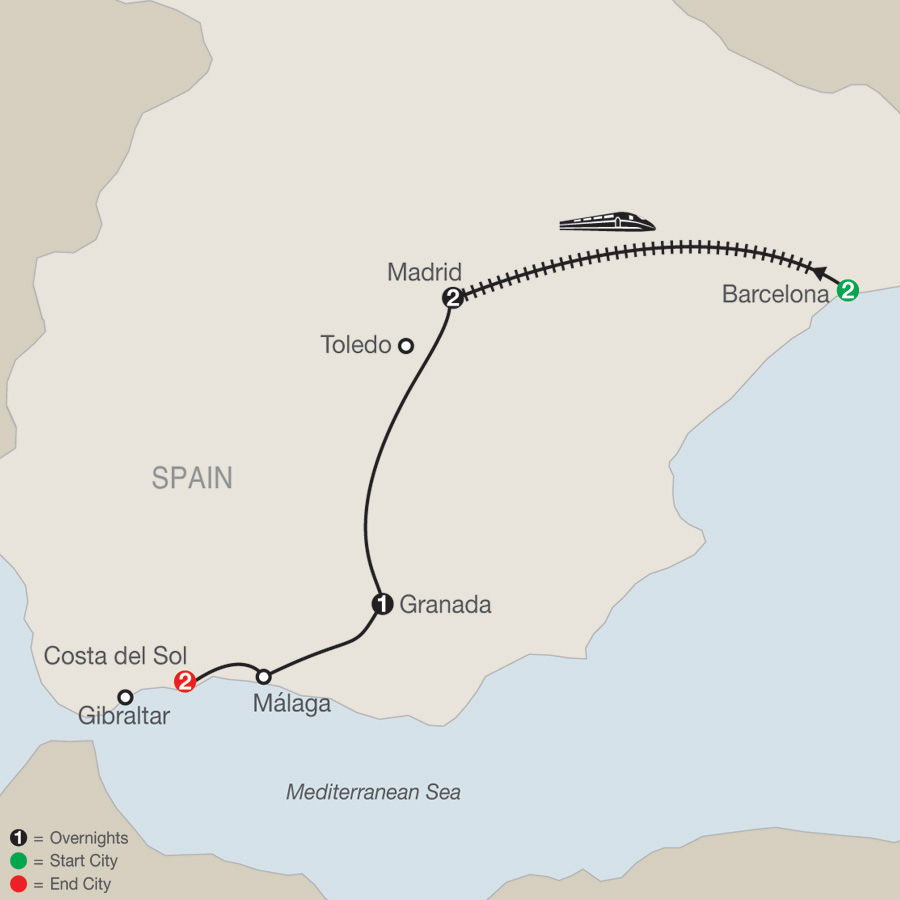 Itinerary map of Spectacular Spain 2019 - 8 days from Barcelona to Costa del Sol