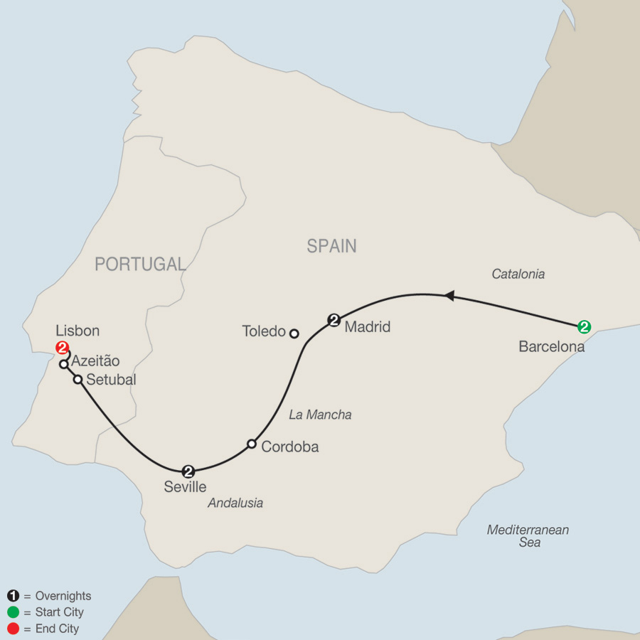 Itinerary map of Iberian Tapestry 2019 - 9 days from Barcelona to Lisbon