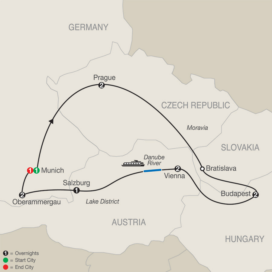 Itinerary map of Imperial Splendors with Oberammergau 2020 - 12 days from Munich to Munich