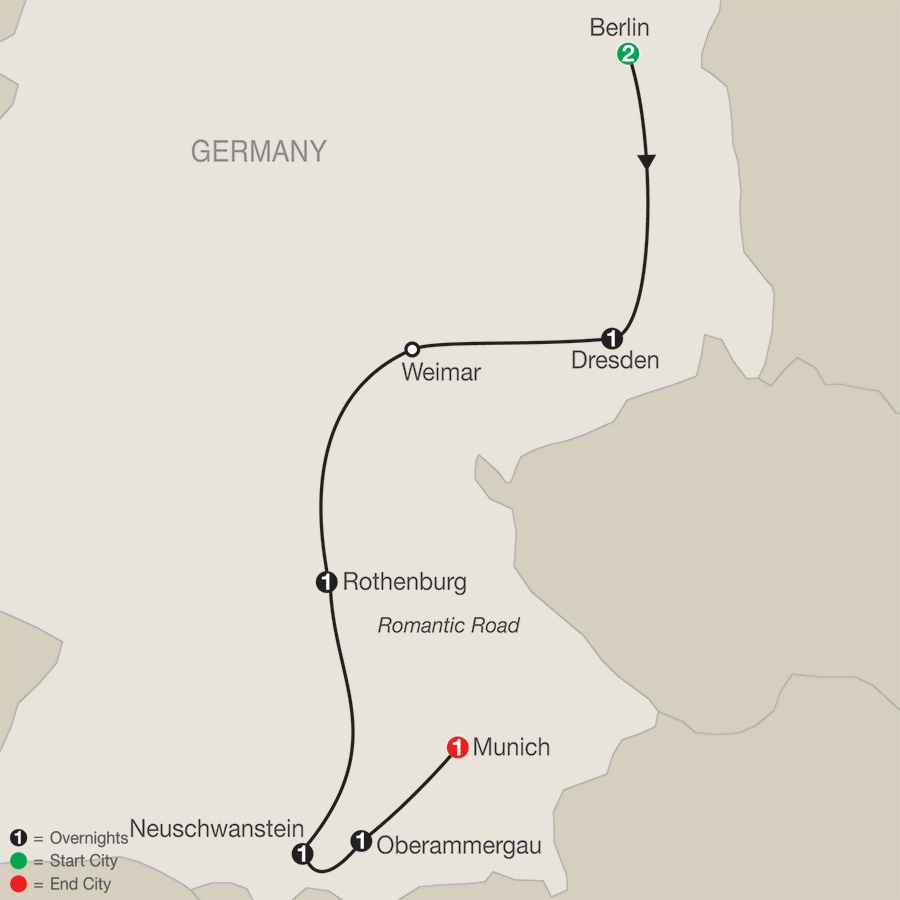 Itinerary map of German Vista with Oberammergau 2020 - 8 days from Berlin to Munich