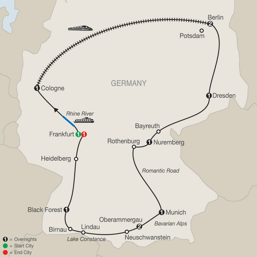 Itinerary map of German Highlights with Oberammergau 2020 - 12 days from Frankfurt to Frankfurt