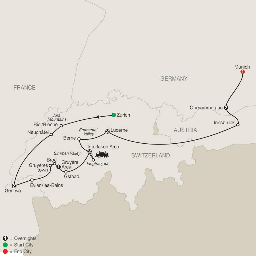 Itinerary map of Spectacular Switzerland with Oberammergau 2020 - 12 days from Zurich to Munich