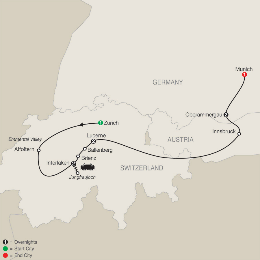 Itinerary map of Top of Switzerland with Oberammergau 2020 - 9 days from Zurich to Munich