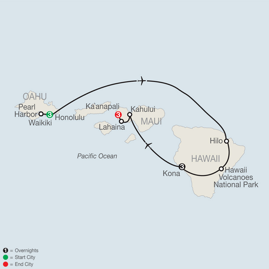 Itinerary map of Best of the Hawaiian Islands 2019 from Honolulu to Maui